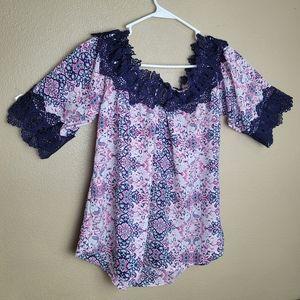 4/$20 Sz Small Floral Boho Bohemian Purple Blouse